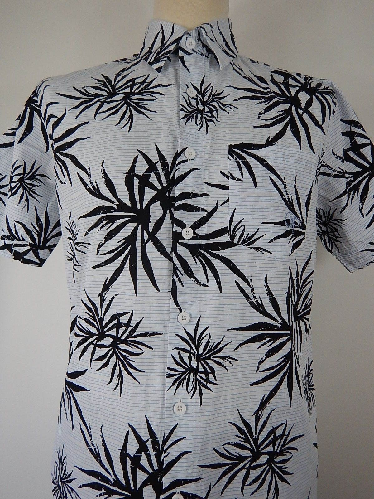 M/&S/&W Men Beach Floral Print Button Down Hawaiian Shirt
