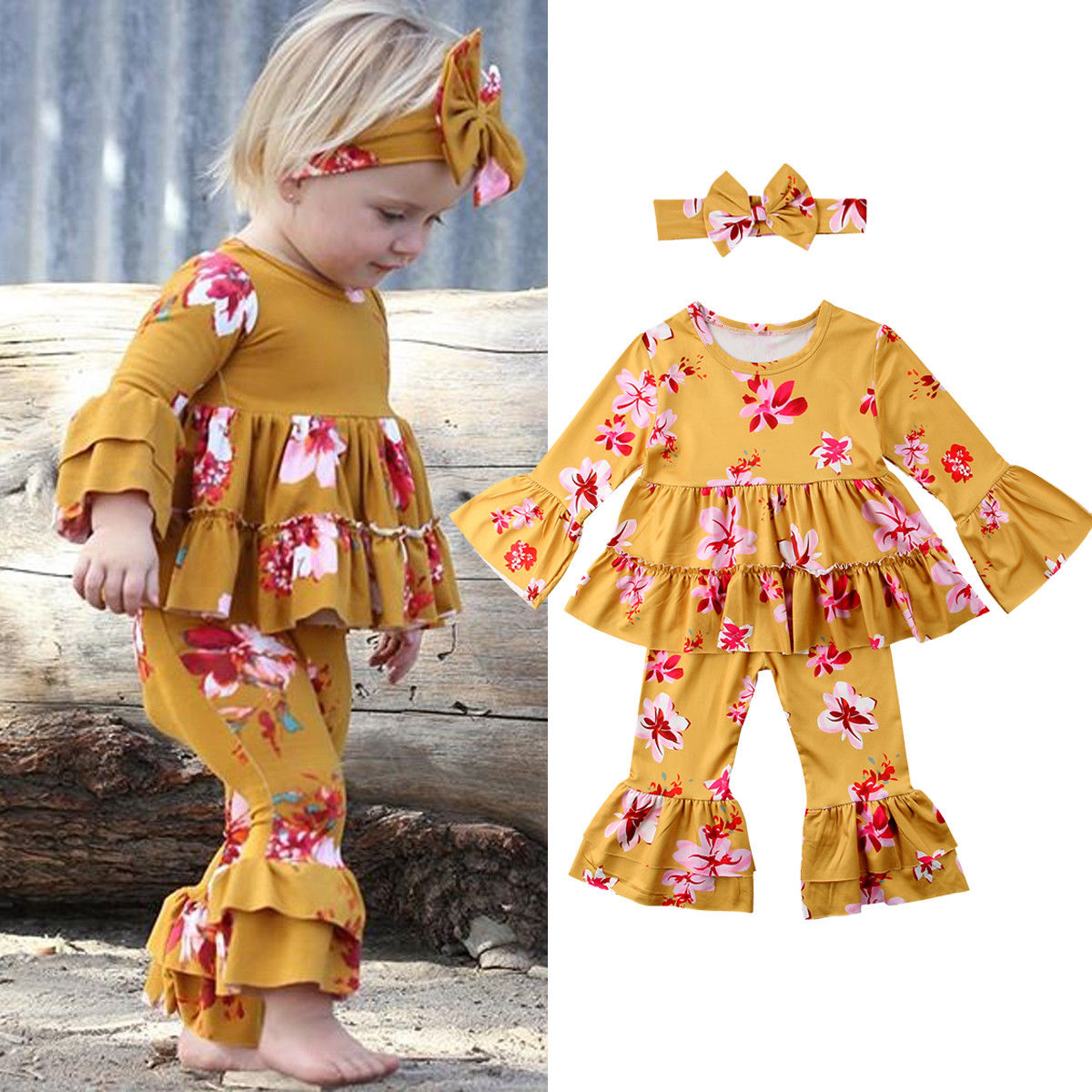 Kids Kid Baby Girl Floral Clothes Ruffle Dress Tops T Shirts Wid