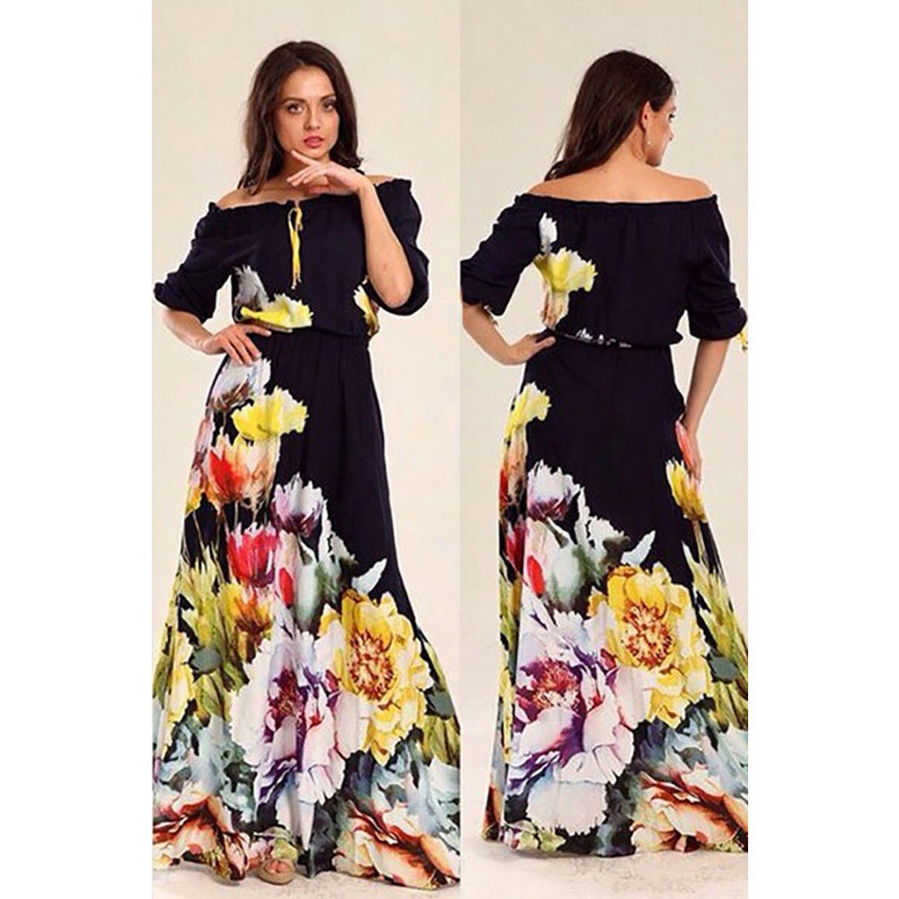 Kids – Women s Off Shoulder Floral Long Sleeve Maxi Summer Beach Party  Casual Dresses 877a829012
