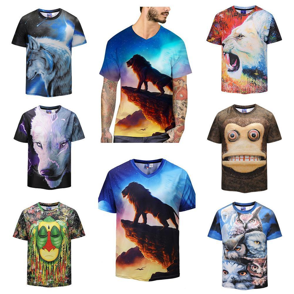 8a59dffcf3  Men – Mens 3d Print T-Shirt Funny Animal Logo Round Neck Short Sleeve  Casual Tops Tee