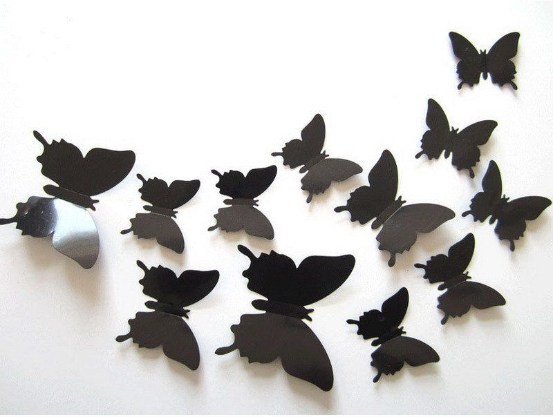 Women – 12Pcs Black Art Decal Wall Stickers 3D Butterfly Wall Decal Room  Home Decor cae9f8b7c