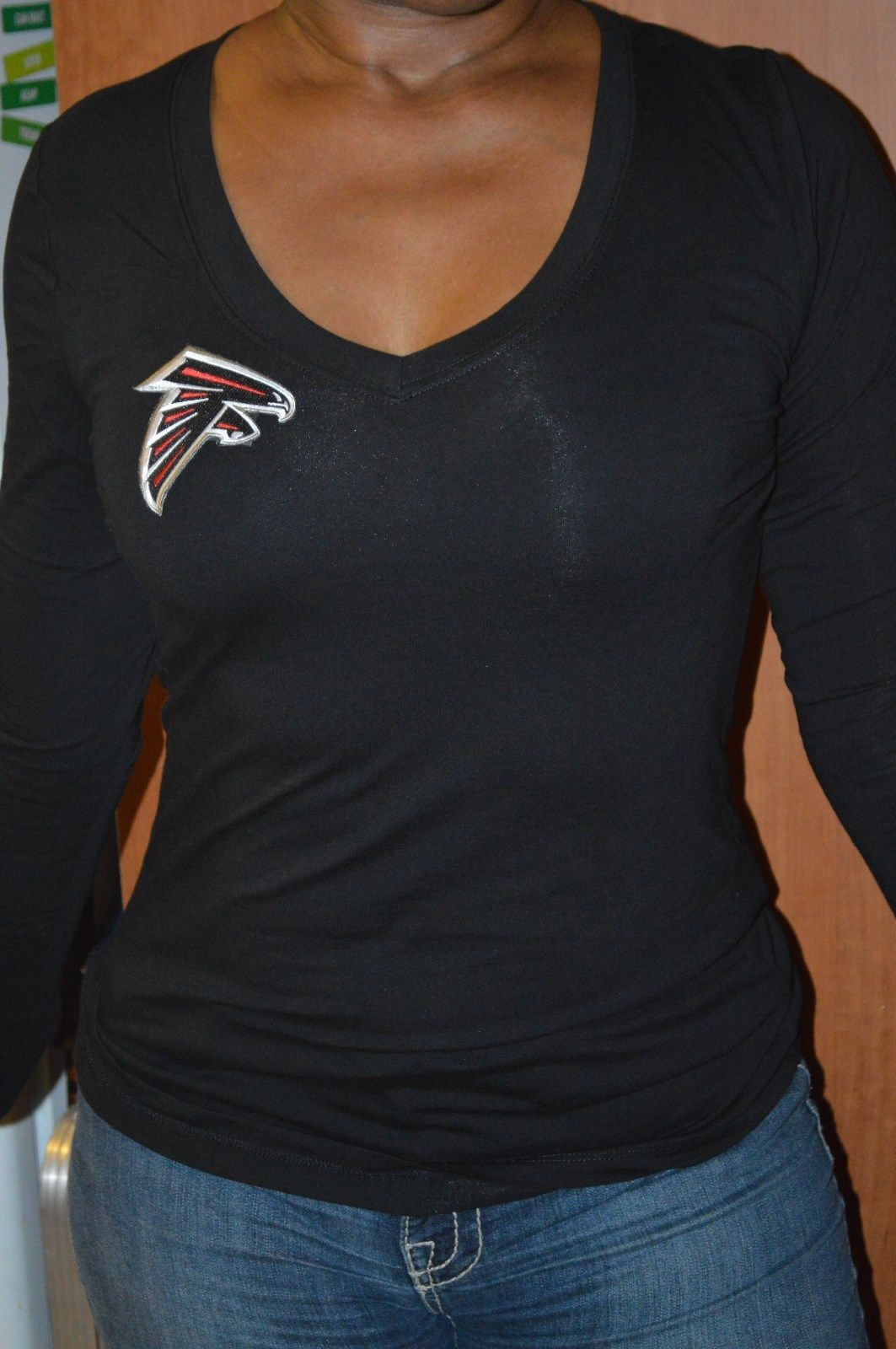 Women – NEW-SEXY-ATLANTA FALCONS-TOP-V NECK-BLACK-LONG-SHIRT-T-TANK-JERSEY -S-M-L-1X-2X-3 210e1455b7