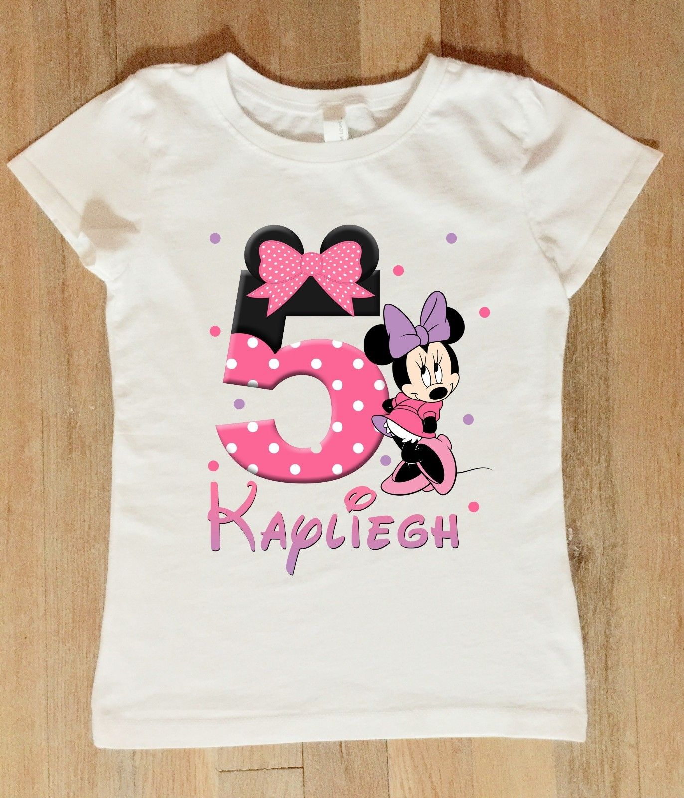 Kids Minnie Mouse Birthday Shirt Personalized Bodysuit
