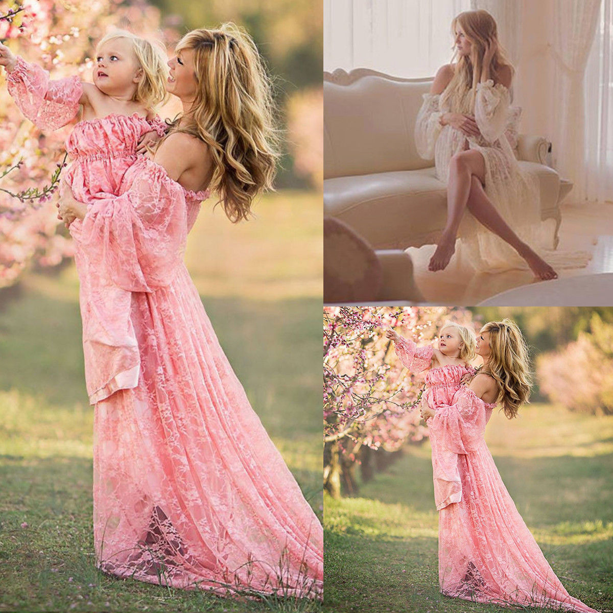 0bd9a883721  Kids – Pregnant Women Photography Dress Maternity Maxi Party Dresses Lace  Gown Clothes