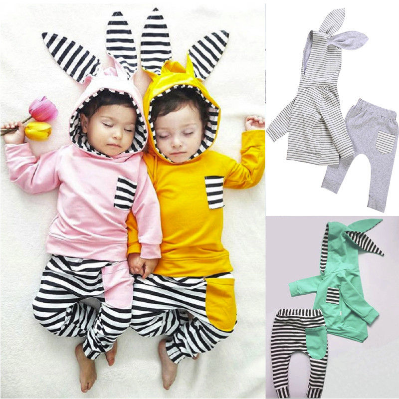 106009a4410d Kids – Toddler Baby Boy Girl 3D Bunny Ear Striped Hoodie T shirt ...