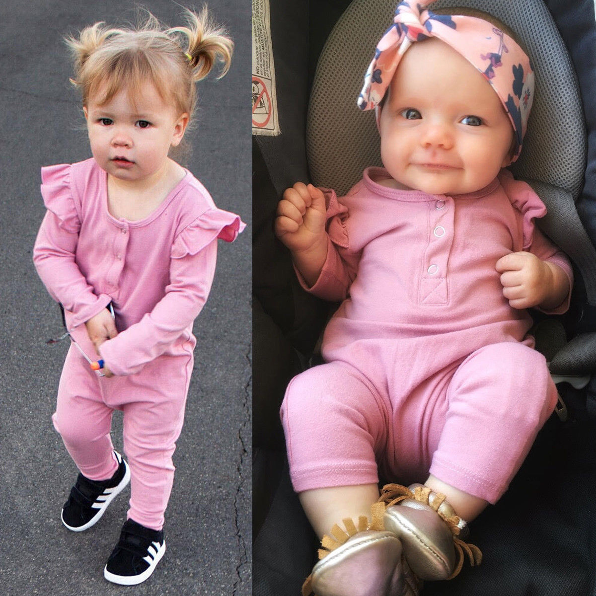 87b63e861a06  Men – Toddler Infant Girl Long Sleeve Romper Ruffled Jumpsuit Bodysuit  Clothes Outfits