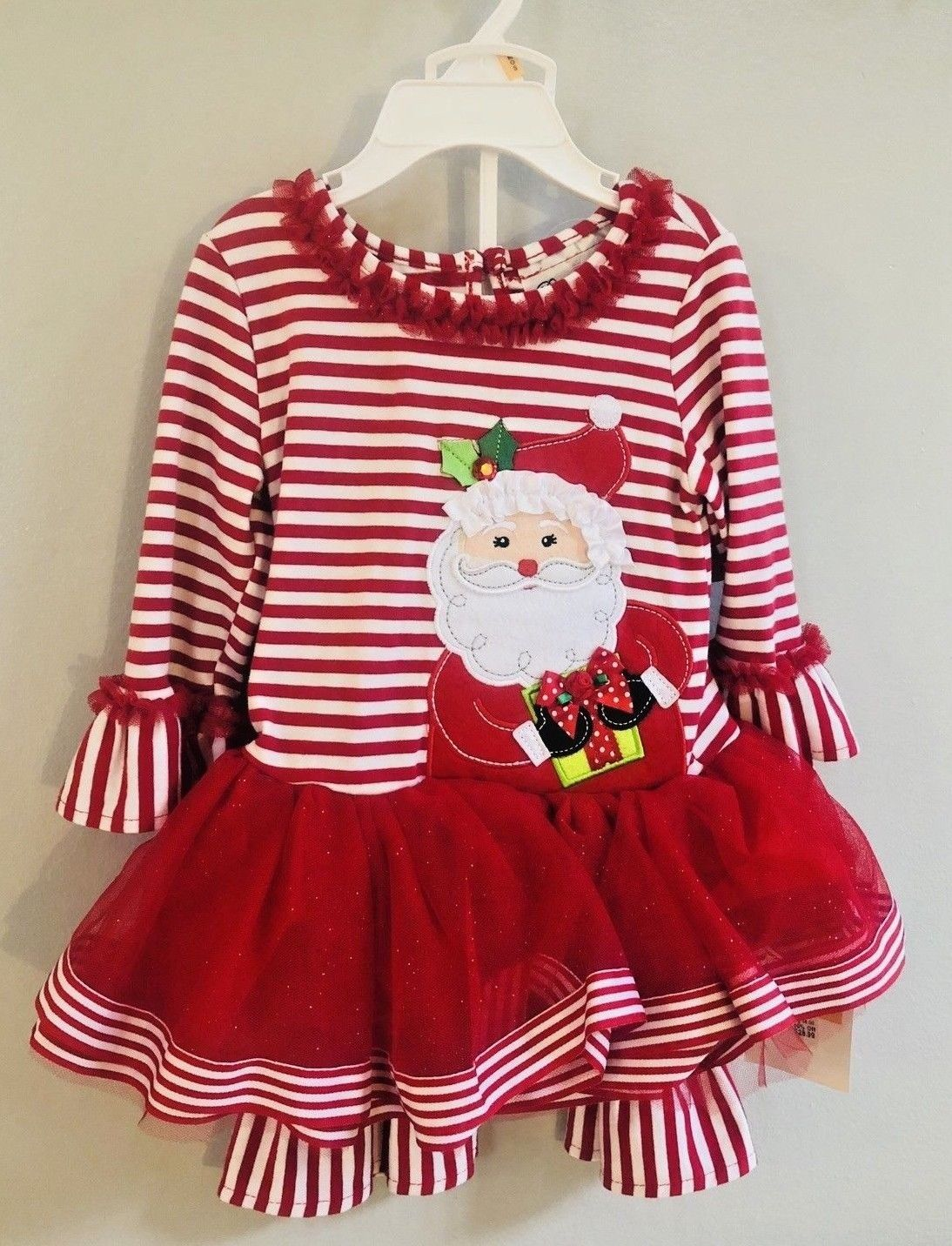 New Christmas Toddler Girls Rare Editions 2pc Santa Outfit Dress Size 12M