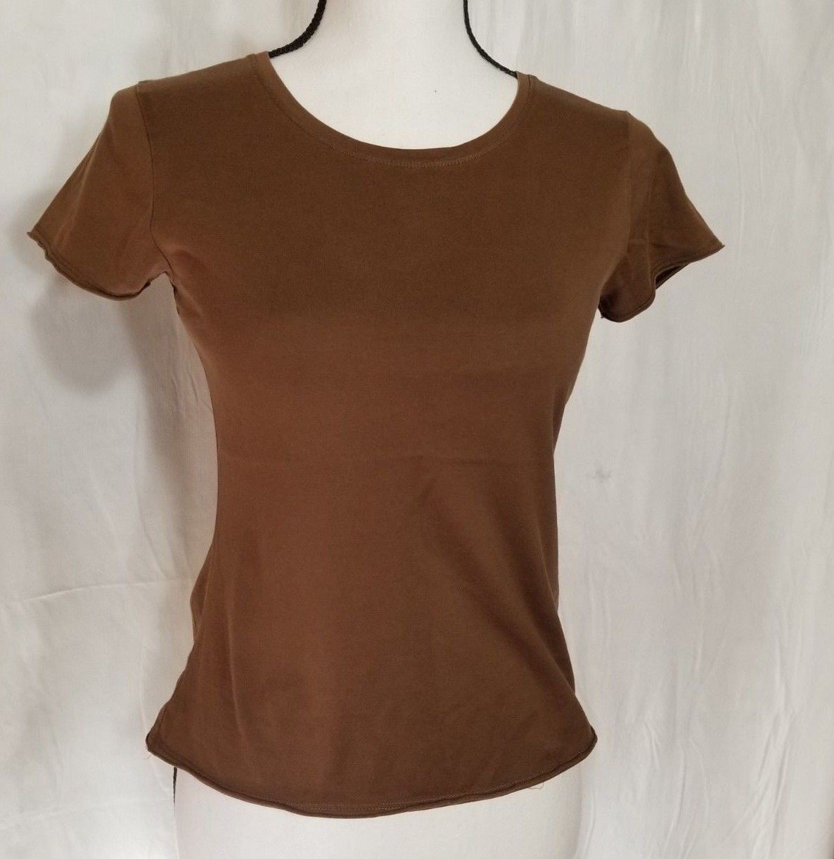 ba195d82 #Women – J Jill Women's XS Cap Sleeve Brown Pullover T-Shirt Top Fitted Tee