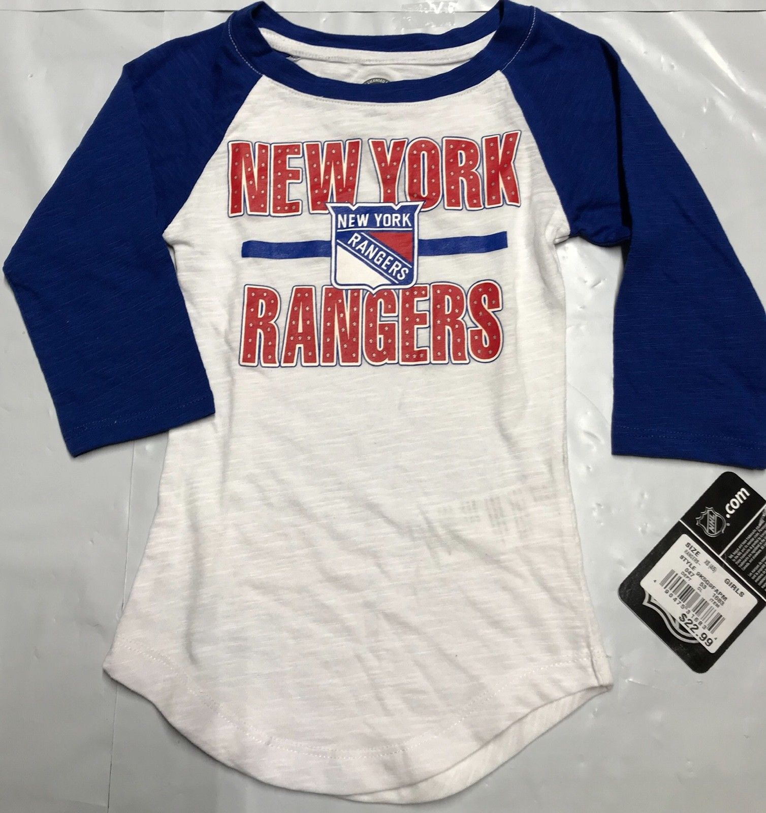 17fb6c659  Kids – NHL New York Rangers Girls Hot Shot White 3 4 Sleeve T-Shirt XS-S-M  NEW
