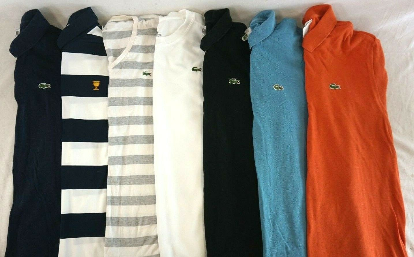 LACOSTE Lot Of 7 Men's Short Sleeve Polo Shirts